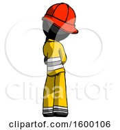Black Firefighter Fireman Man Thinking Wondering Or Pondering Rear View