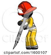Black Firefighter Fireman Man Cutting With Large Scalpel