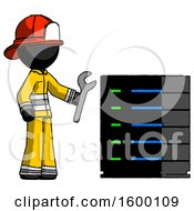 Black Firefighter Fireman Man Server Administrator Doing Repairs