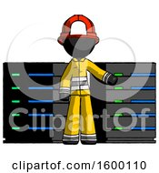 Black Firefighter Fireman Man With Server Racks In Front Of Two Networked Systems