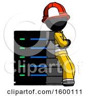 Poster, Art Print Of Black Firefighter Fireman Man Resting Against Server Rack Viewed At Angle