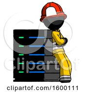 Black Firefighter Fireman Man Resting Against Server Rack Viewed At Angle
