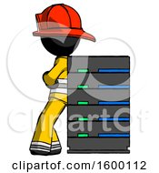 Black Firefighter Fireman Man Resting Against Server Rack