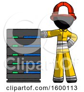 Poster, Art Print Of Black Firefighter Fireman Man With Server Rack Leaning Confidently Against It