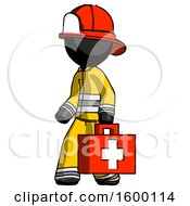 Black Firefighter Fireman Man Walking With Medical Aid Briefcase To Left