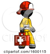 Black Firefighter Fireman Man Walking With Medical Aid Briefcase To Right