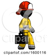 Black Firefighter Fireman Man Walking With Briefcase To The Right