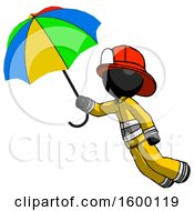Black Firefighter Fireman Man Flying With Rainbow Colored Umbrella