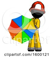 Black Firefighter Fireman Man Holding Rainbow Umbrella Out To Viewer
