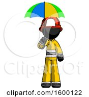 Black Firefighter Fireman Man Holding Umbrella Rainbow Colored