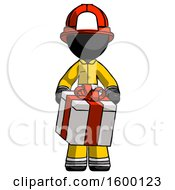Black Firefighter Fireman Man Gifting Present With Large Bow Front View