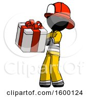 Black Firefighter Fireman Man Presenting A Present With Large Red Bow On It