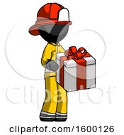Black Firefighter Fireman Man Giving A Present