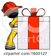 Black Firefighter Fireman Man Gift Concept Leaning Against Large Present