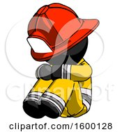 Black Firefighter Fireman Man Sitting With Head Down Facing Angle Left