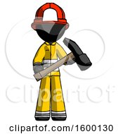 Black Firefighter Fireman Man Holding Hammer Ready To Work