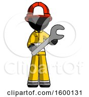Black Firefighter Fireman Man Holding Large Wrench With Both Hands