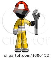 Black Firefighter Fireman Man Holding Wrench Ready To Repair Or Work