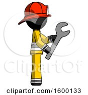 Black Firefighter Fireman Man Using Wrench Adjusting Something To Right