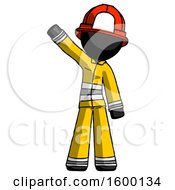 Black Firefighter Fireman Man Waving Emphatically With Right Arm