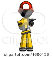 Black Firefighter Fireman Man Holding Large Drill