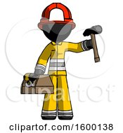 Black Firefighter Fireman Man Holding Tools And Toolchest Ready To Work