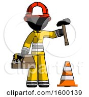 Black Firefighter Fireman Man Under Construction Concept Traffic Cone And Tools