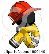 Black Firefighter Fireman Man Sitting With Head Down Facing Sideways Left