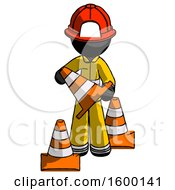 Black Firefighter Fireman Man Holding A Traffic Cone
