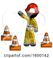 Black Firefighter Fireman Man Standing By Traffic Cones Waving