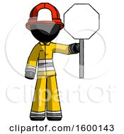 Black Firefighter Fireman Man Holding Stop Sign