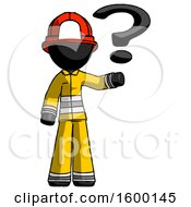Black Firefighter Fireman Man Holding Question Mark To Right