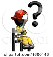 Black Firefighter Fireman Man Question Mark Concept Sitting On Chair Thinking