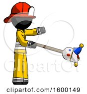 Black Firefighter Fireman Man Holding Jesterstaff I Dub Thee Foolish Concept