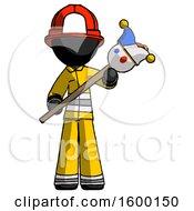Black Firefighter Fireman Man Holding Jester Diagonally