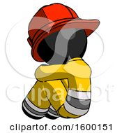 Black Firefighter Fireman Man Sitting With Head Down Back View Facing Left