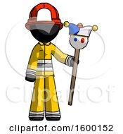 Black Firefighter Fireman Man Holding Jester Staff