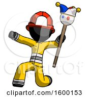 Black Firefighter Fireman Man Holding Jester Staff Posing Charismatically