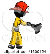 Black Firefighter Fireman Man Dusting With Feather Duster Downwards