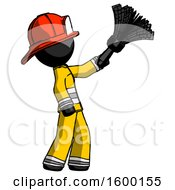 Black Firefighter Fireman Man Dusting With Feather Duster Upwards