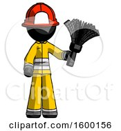 Black Firefighter Fireman Man Holding Feather Duster Facing Forward