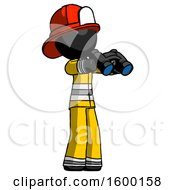 Black Firefighter Fireman Man Holding Binoculars Ready To Look Right