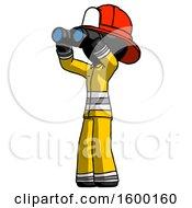 Black Firefighter Fireman Man Looking Through Binoculars To The Left