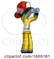 Black Firefighter Fireman Man Looking Through Binoculars To The Right