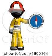 Black Firefighter Fireman Man Holding A Large Compass