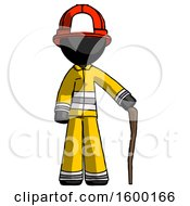 Black Firefighter Fireman Man Standing With Hiking Stick