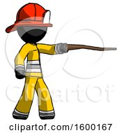 Black Firefighter Fireman Man Pointing With Hiking Stick