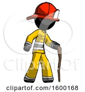 Black Firefighter Fireman Man Walking With Hiking Stick