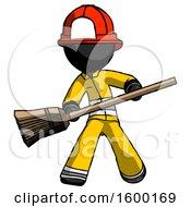 Black Firefighter Fireman Man Broom Fighter Defense Pose