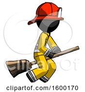 Black Firefighter Fireman Man Flying On Broom